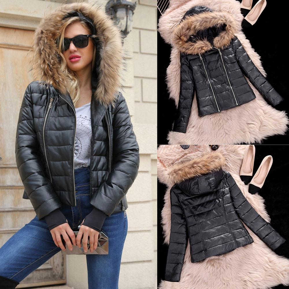 Women's Winter Warm Zipper Leather Jacket Parka