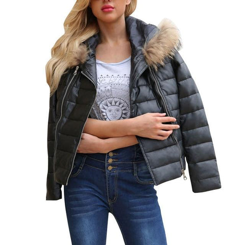 Image of Women's Winter Warm Zipper Leather Jacket Parka