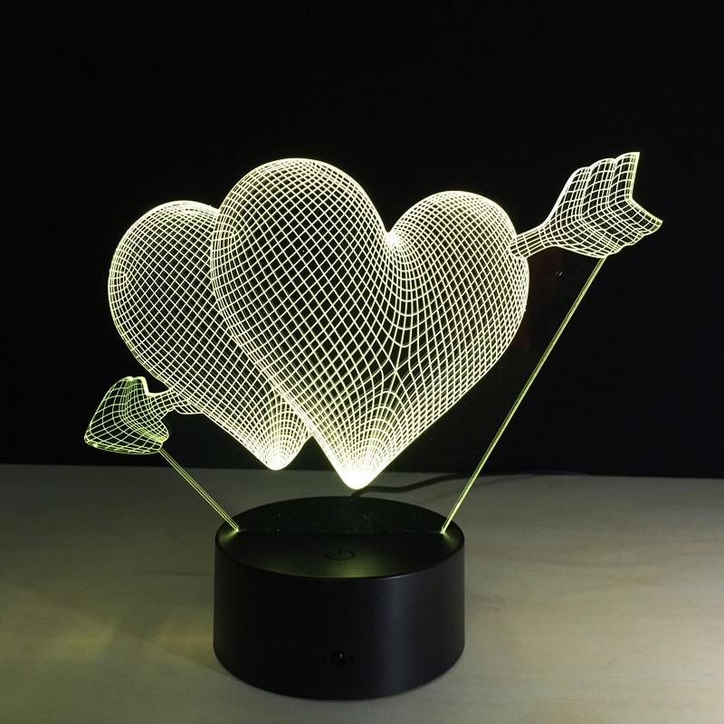 Valentine's Day 7 Color Change 3D Love Hologram USB Lamp