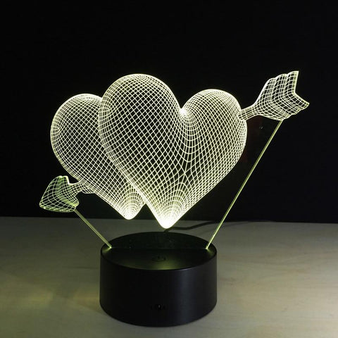 Image of Valentine's Day 7 Color Change 3D Love Hologram USB Lamp