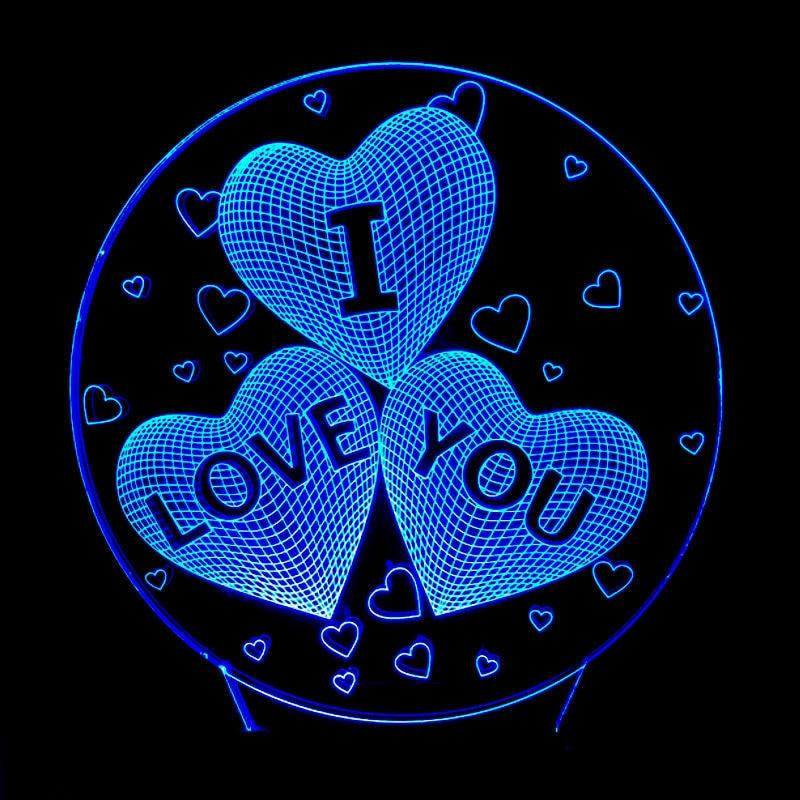 I LOVE YOU Colorful 3D Hologram Lamp