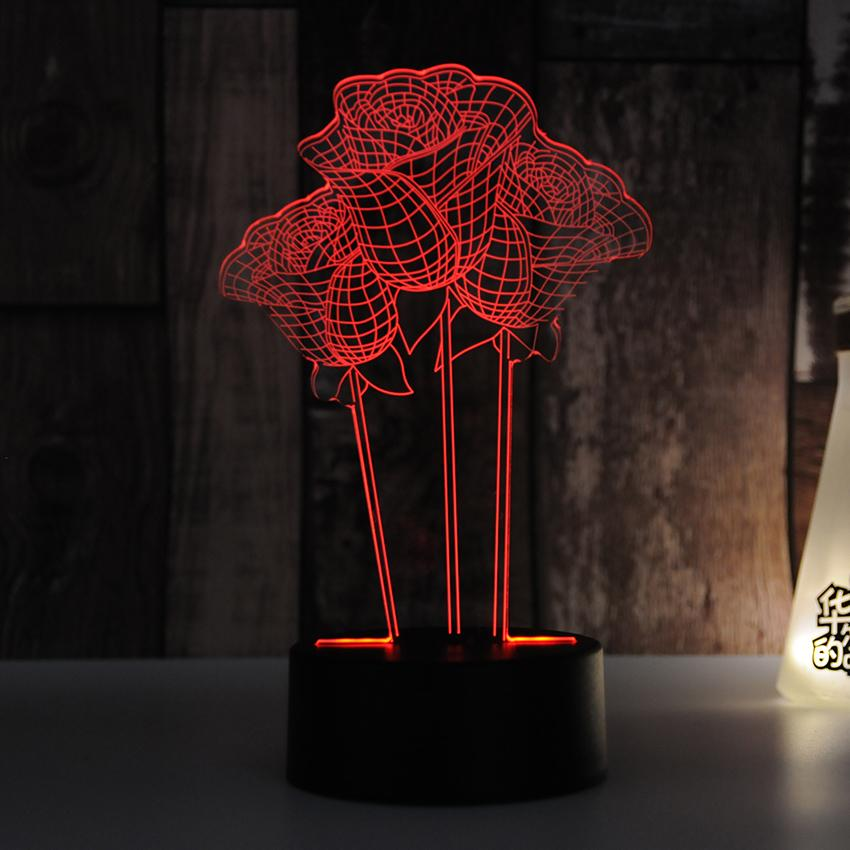 3D Hologram Rose Flower Lamp
