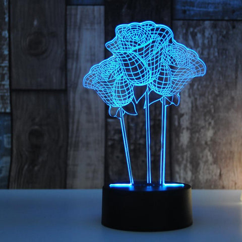 Image of 3D Hologram Rose Flower Lamp
