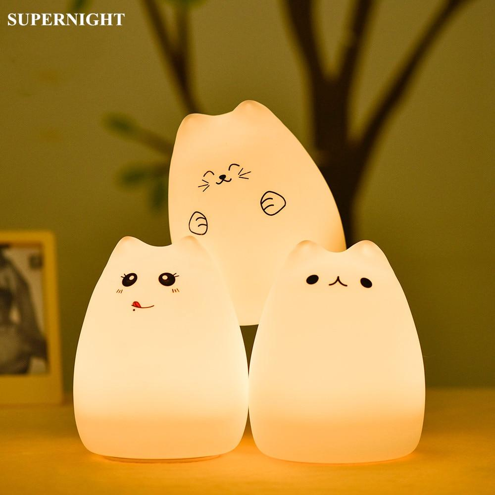 Colorful Cartoon Cat LED Night Table Lamp Touch Sensor & Remote System