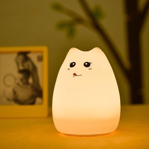 Image of Colorful Cartoon Cat LED Night Table Lamp Touch Sensor & Remote System