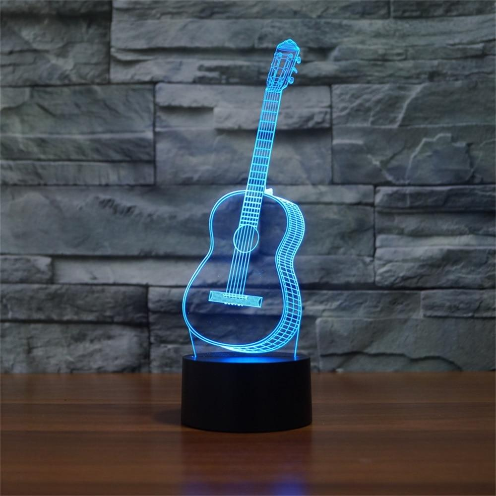 Valentines Day 7 Color 3D Hologram Guitar Lamp