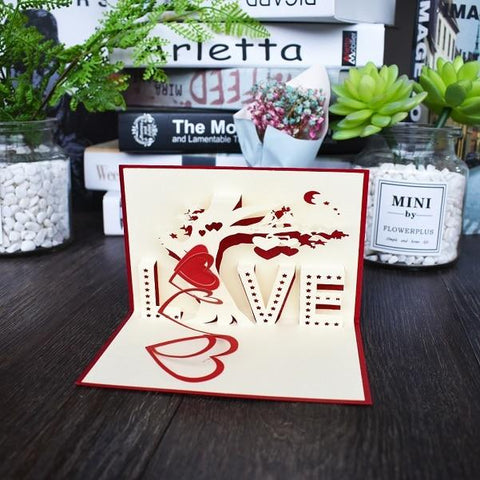 Image of Love 3D Pop UP Cards Valentines Day Gift Postcard with Envelope Stickers Wedding Invitation Greeting Cards Anniversary for Her