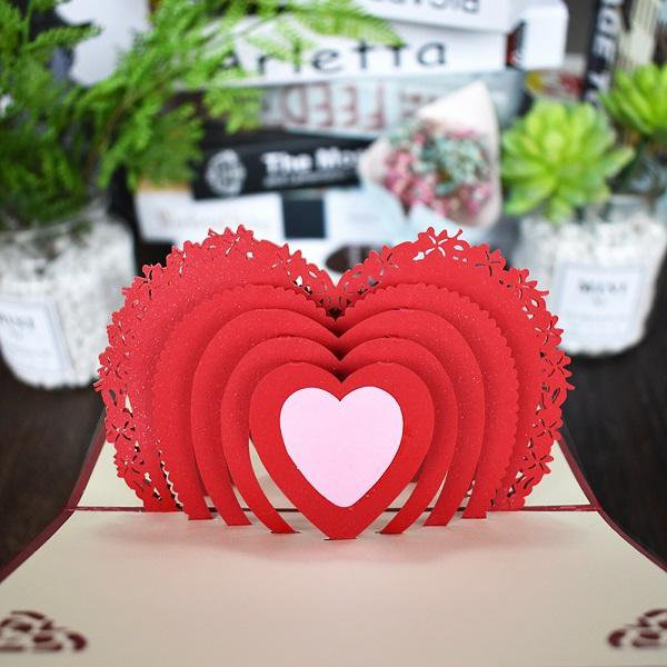 Love 3D Pop UP Cards Valentines Day Gift Postcard with Envelope Stickers Wedding Invitation Greeting Cards Anniversary for Her