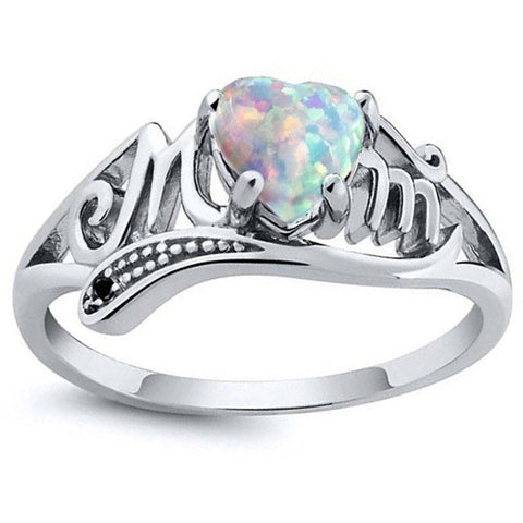 Fashion Ring Love Mum Family Fire Opal Finger Ring MOM gothic rings for women