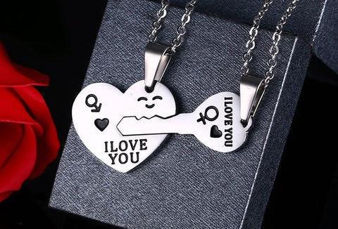 Image of Matching Lovers Couple Puzzle Necklace - LoveLuve