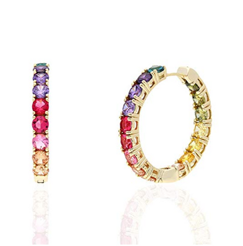 Image of Sterling Silver Dazzling Rainbow Hoop Earrings