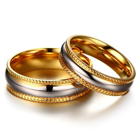 Image of Gold-Color High Polished Matching Ring For Couples - LoveLuve