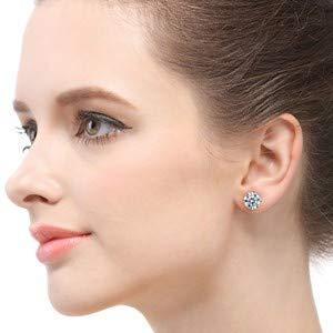 Sterling Silver 6mm Cubic Zirconia Stud Earrings - Unisex
