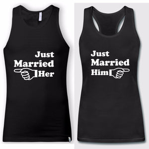 2018 Couple Matching Just Married Him Her Tank Tops - LoveLuve