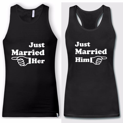 Image of 2018 Couple Matching Just Married Him Her Tank Tops - LoveLuve
