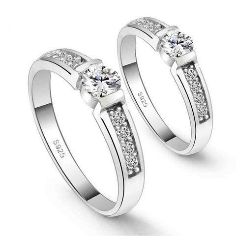 Image of Couple Matching Wedding Rings - LoveLuve