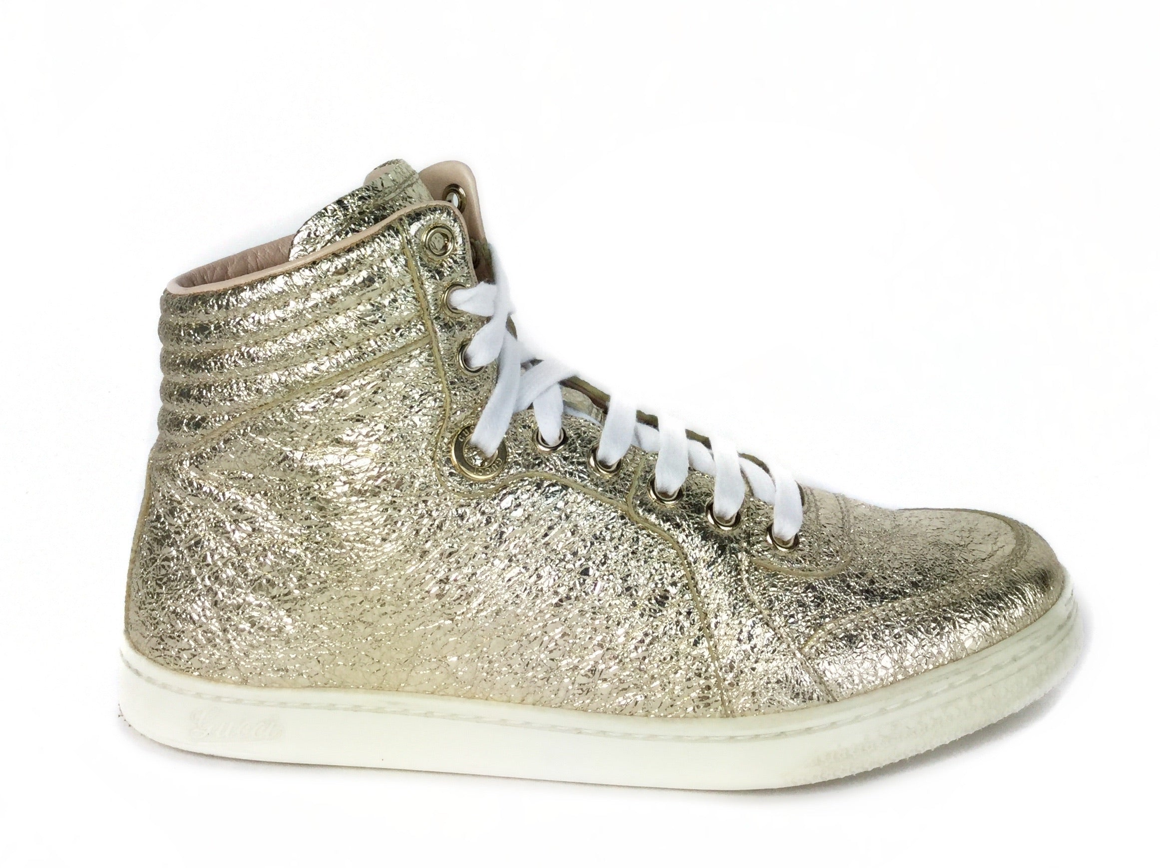 Gucci Metallic Galassia Leather Sneaker 37G
