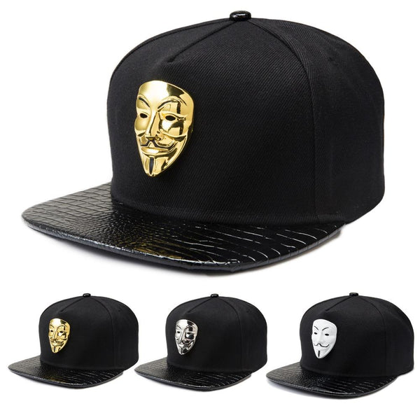 18k Gold Plated Anonymous Mask Baseball Cap
