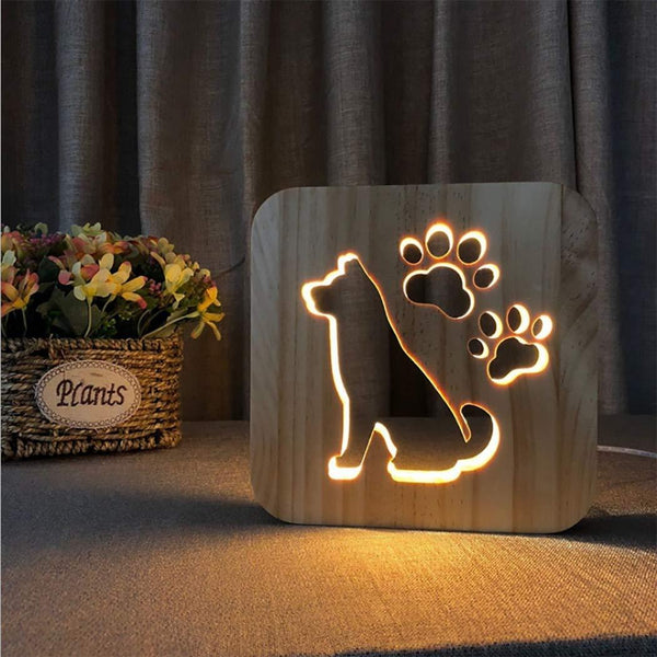3D Wooden LED Lamp - Cute Dog