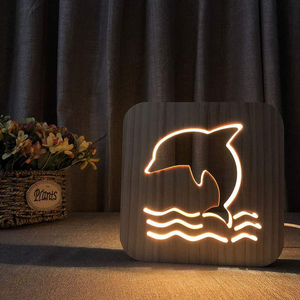 3D Wooden LED Lamp - Dolphin