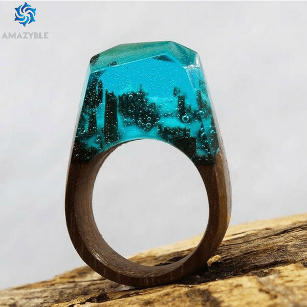 Handmade Snow Landscape Wood Ring