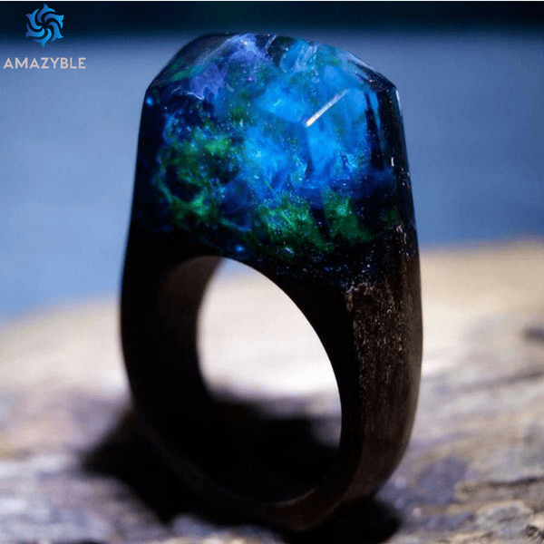 Handmade Enchanted Ocean Wood Ring