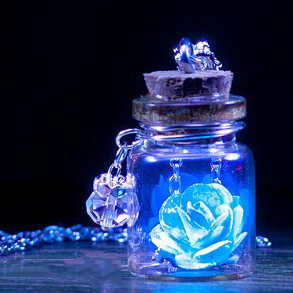 Glow in the Dark Flower Wishing Bottle Pendant