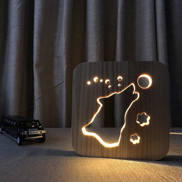 3D Wooden LED Lamp - Winter Wolf