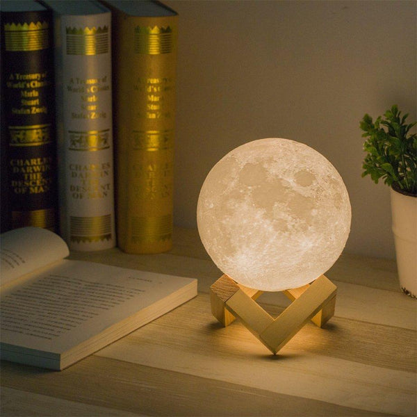 Enchanting Moon LED Light - 3 Light Modes + Wooden Stand - USB Rechargeable