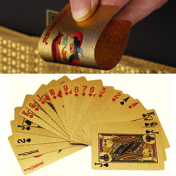 24K Gold Waterproof Poker Cards - Standard / Dollar / Euro