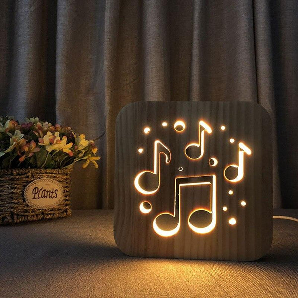 3D Wooden LED Lamp - Musical Notes