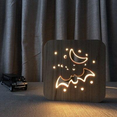 3D Wooden LED Lamp - Night Bat