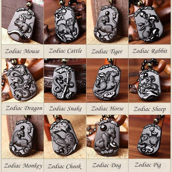 Obsidian Chinese Zodiac Necklaces