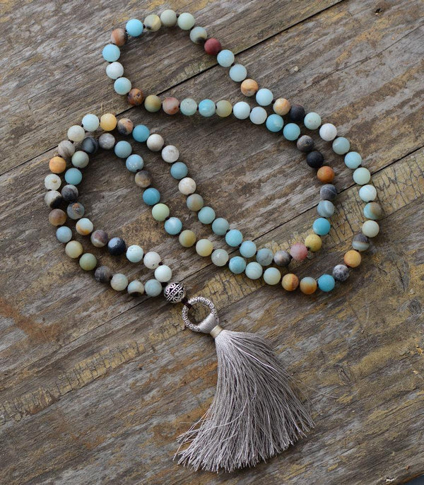 108 Natural Matte Amazonite Stone Bead Mala Prayer With Tassel