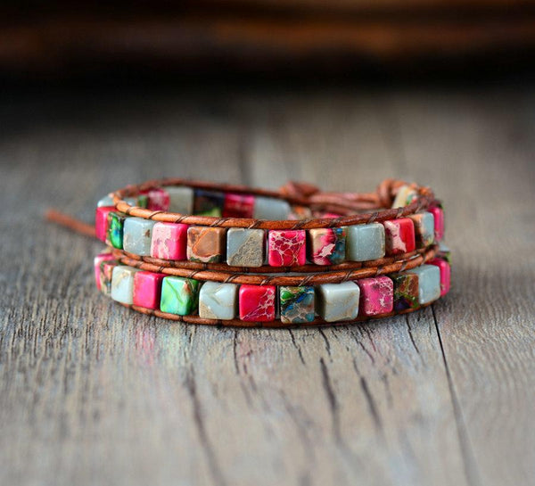 Natural Jasper Semi-Precious Stone Two Layer Leather Bracelet - 5 Colors