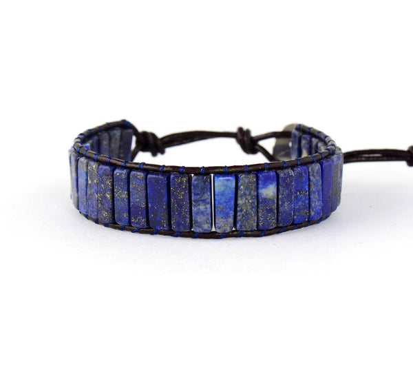 Handmade Natural Semi-Precious Lapis Lazuli Stone & Leather Bracelet