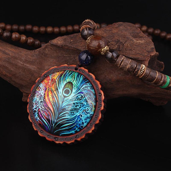 Handmade Peacock Feather Ethnic Sandalwood Necklace