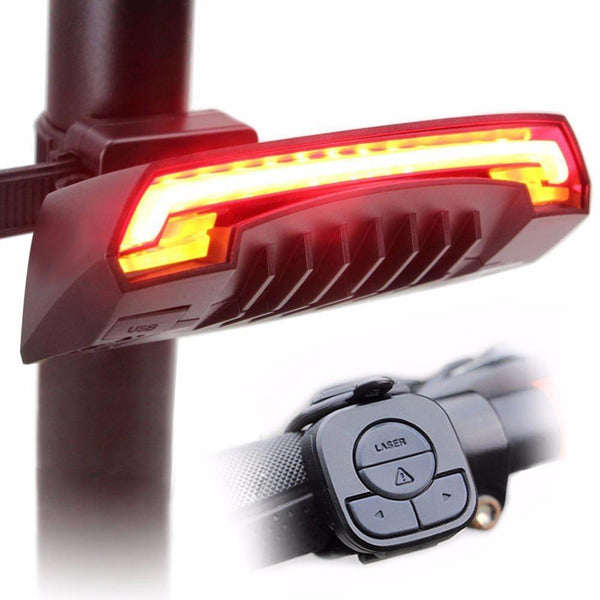 WIRELESS Smart LED Bicycle Light with Turn Signal & Road Laser - USB Rechargeable