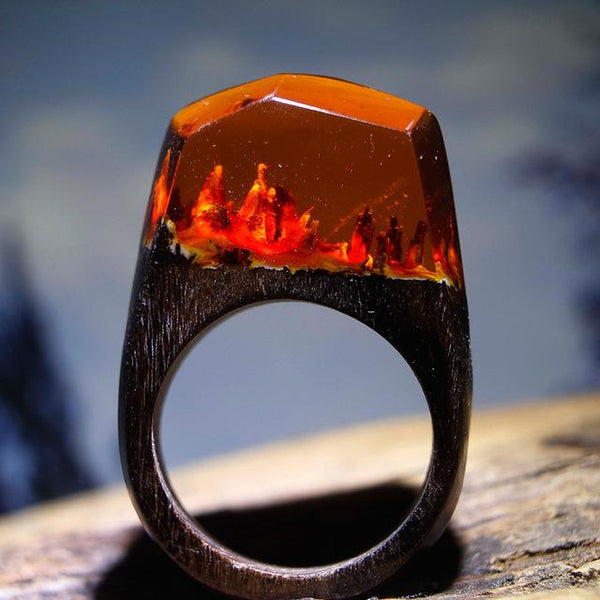 Handmade Mars Landscape Wood Ring