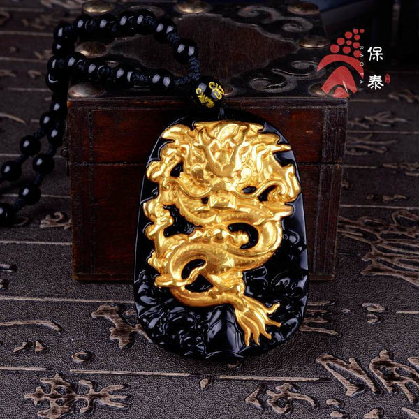 18K Obsidian Gold Dragon Amulet