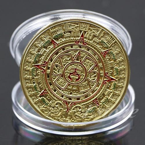 Gold / Silver Plated Mayan Aztec Prophecy Calendar Commemorative Coin