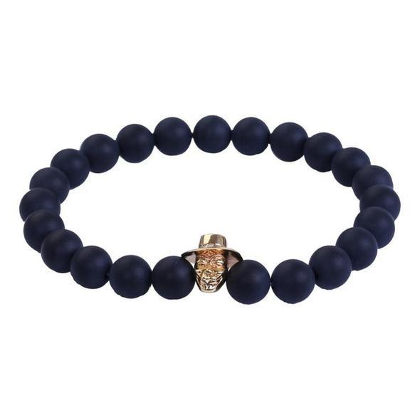 Natural Onyx Beads Anonymous Guy Fawkes Mask Bracelet