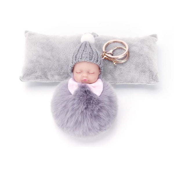 Sleeping Baby Fur Ball Keychain