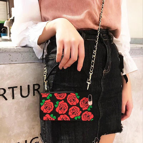 Crossbody iPhone Case with Roses and Black Chain