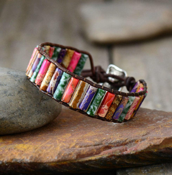 Tube Shape Natural Stone Leather Wrap Bracelet - 4 colors