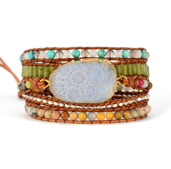 Handmade Natural Chrysanthemum Gemstone Leather Wrap Bracelet