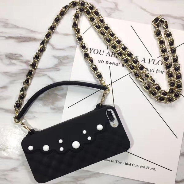 Crossbody iPhone Case with Pearls and Chain