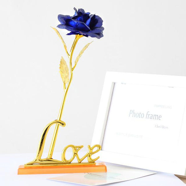 24k Gold Foil Plated Rose with Love wording