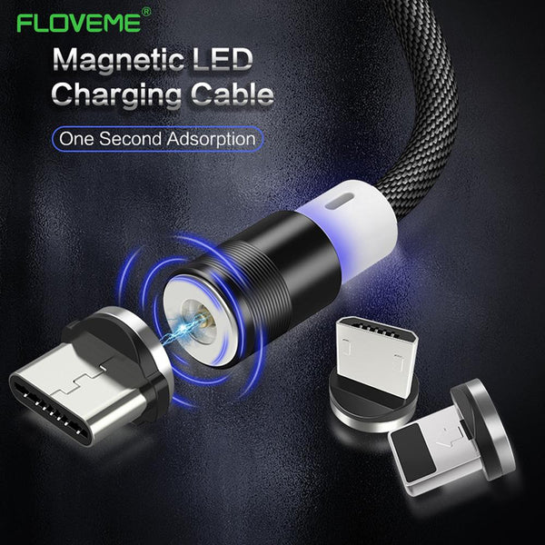 LED Magnetic Fast Charging Cable For iOS + Android