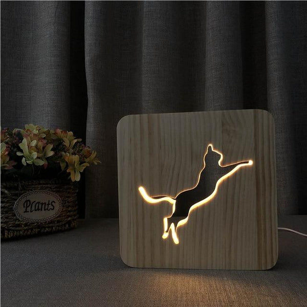 3D Wooden LED Lamp - Jumping Cat